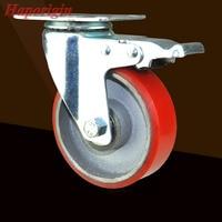 4 Castors Medium Sized Core Polyurethane PU Heavier Type Flat Top Belt Industrial Wheel Brake