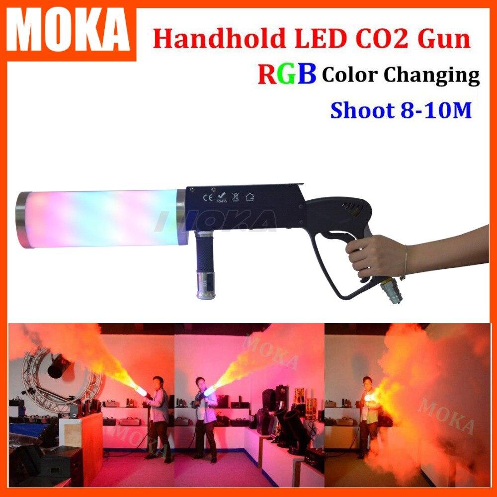 1 ks / lot mlha střílečka co2 zbraň pro dj led Co2 pistole s baterií RGB barevná LED Co2 kryogenní mlhovací efekt fx co2 jet machine