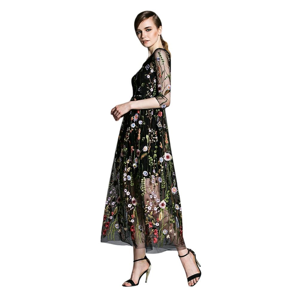Kenancy Plus Size Runway Dresses Gorgeous Bohemian Sheer Mesh Flower ...