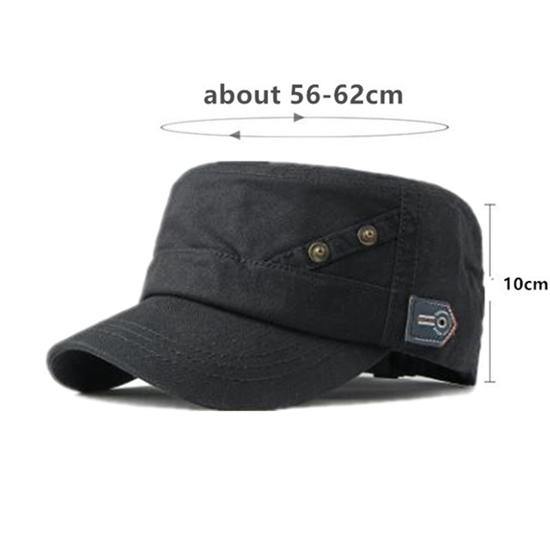 SILOQIN Snapback Cap Adult Men 39 s Retro Army Military Hats Adjustable Size Washed Cotton Cloth Plate Flat Cap For Men Dad Hat in Men 39 s Military Hats from Apparel Accessories