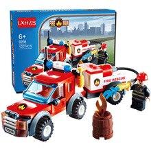122 шт. пожарная серия пожарная машина аварийная пожарная Лодка Грузовик детские развивающие сборные игрушки строительные блоки Кирпич