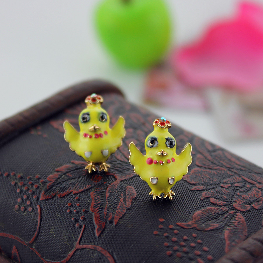 Xq Free Shipping 2015 Jewelry Fashion The New Yellow Duck Earrings Bj Gifts  For Girls Gifts