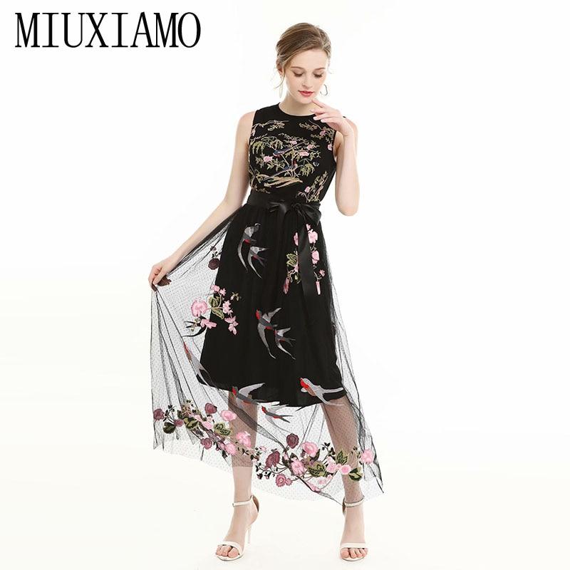 MIUXIMAO TOP qualité 2019 automne tenue décontractée mode a-ligne o-cou fleur broderie noir longue robe femmes vestidos avec ceinture
