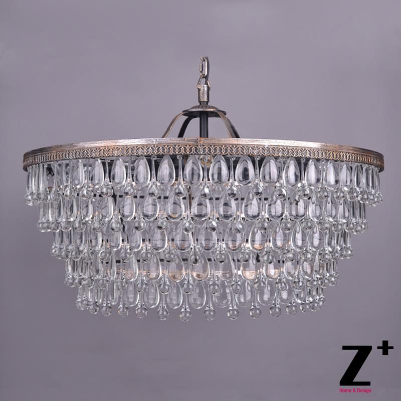 Replica item American Style Classical Tear Drop Crystal Round Chandelier Lustre Free shipping replica item american style replica riveted mesh rectangular edison industrial lamp free shipping