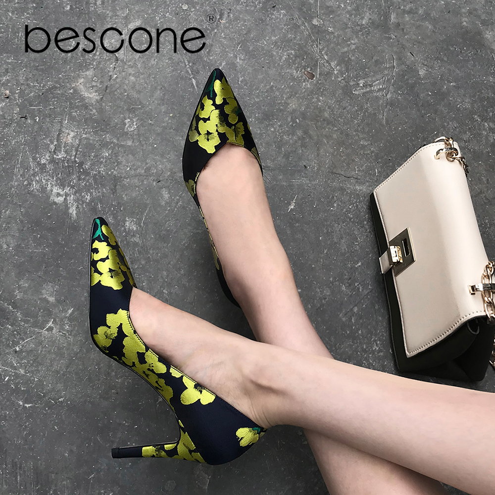 2019 Bureau Satin Mouton Color Sexy Talons Pointu Partie Minces Luxe Chaussures De Slip yellow Peau A12 Orange Bescone Printemps sur Bout Coloré Pompes Femme dCxQEeroWB