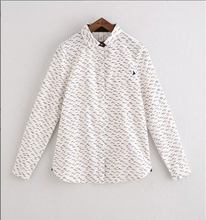 summer new fashion Slim wild pencil printing shirt female casual lapel long sleeve thin