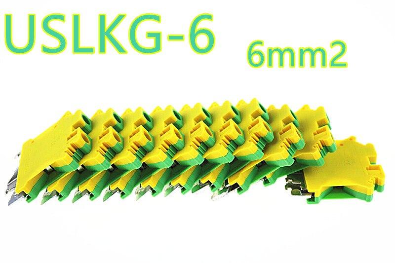 50pcs USLKG 6 Earthing terminal Wiring row Terminal blocks