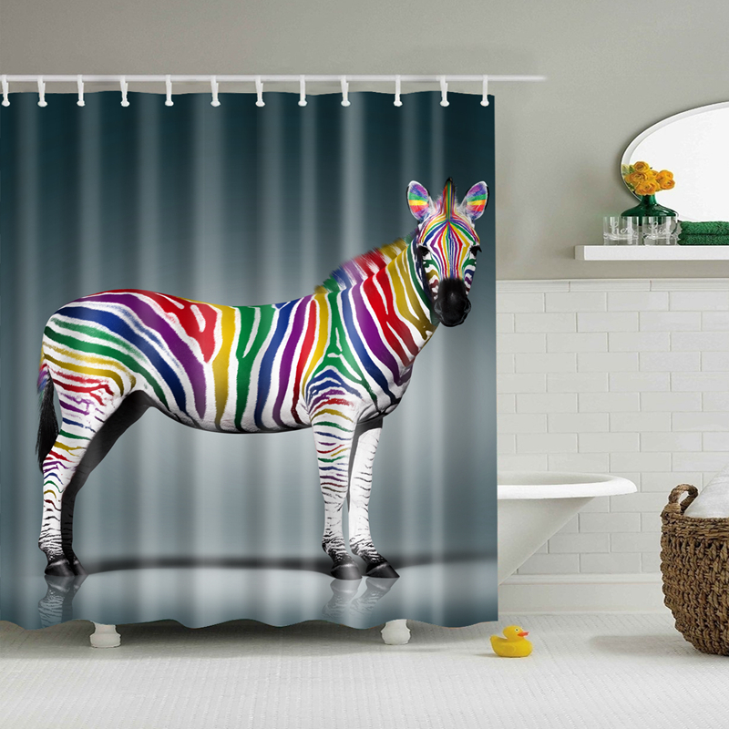2017 New Design Colorful Eco-friendly Horse Zebra Polyester Waterproof High Quality Washable Bath Decor Shower Curtains zwbra shower curtain