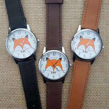 Gorący sprzedawanie 2017 nowy śliczny mały lis prezent dla studentów zegarek Crazy Animal City Mr Fox zegarki dla kobiet numery tarcza do zegarka tanie i dobre opinie Kwarcowe zegarki ROUND 18mm Skórzane Odporna na wstrząsy Kobiety Moda casual OKTIME Sprzączka STOP NL-S1800 bez opakowania