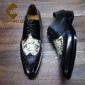 32971785755 - Sipriks lujo importado de Francia Claf zapatos de cuero con zapatos de piel de serpiente Vintage para hombre clásico zapatos Oxford italiano de Blake Welted