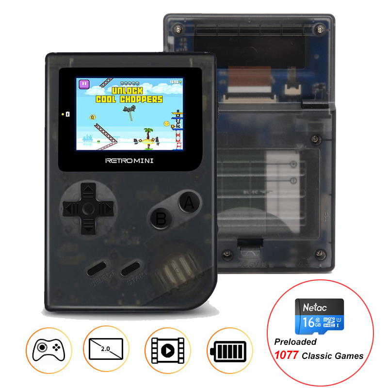 Retro Mini 32 Bit Handheld Game Player With 16GB TF Card Built-in 1077 Classic Games Pocket Game Console Best Gift For Kids цена 2017