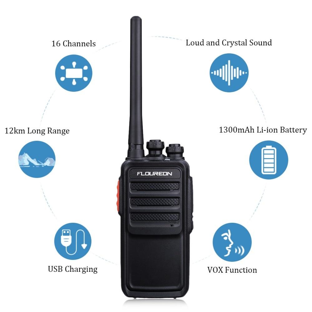 Audio Intercom Türsprechstelle Floureon 16ch Waklie Talkie Uhf400 ~ 480 Mhz 2-radio Usb Ladegerät Li-ion Batterie Wiederaufladbare 12 Km Sprech Uns 1 Paar Spezieller Sommer Sale