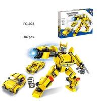 Hot movie super transformation robot 3in1 building block bee beetle Camaro car Peterbilt truck toys figures bricks gifts