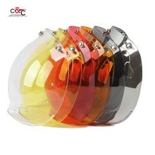 free shipping 6 color available 3/4 open face vintage helmet transparent bubble shield  visor lens black transparent