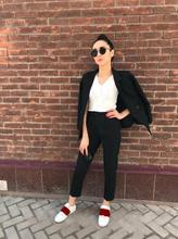 autumn leisure fashion lady two pcs pant and jacket suit office women elastic waistline single button pure black