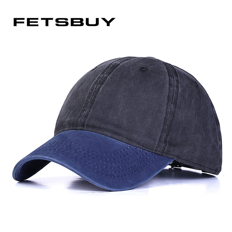 [FETSBUY]  High quality Washed Cotton Adjustable Solid color Baseball Cap couple cap Fashion Leisure Casual dad Hat Snapback