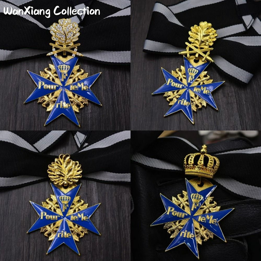 US $19 36 19% OFF|Exact replica WW2 Prussian German Army WWI Gold Blue Max  Pour Le Merite Oakleaves Swords Medal-in Pins & Badges from Home & Garden