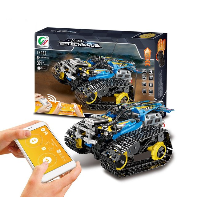 DIY Technic 2.4G/APP Remote Control Tracked Stunt Racing Car Building Blocks with Motor For Children Remote Vehicle Bricks Toys