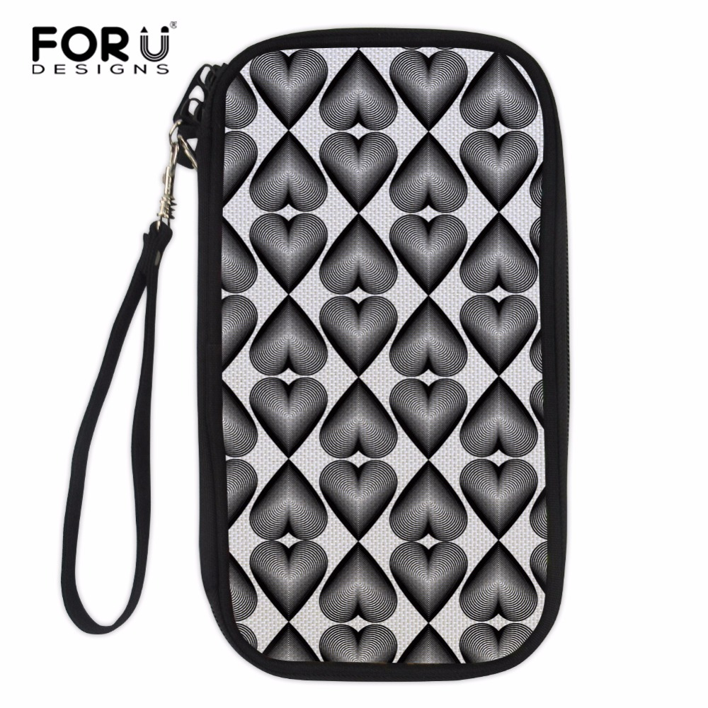 FORUDESIGNS Black White Hand Holding Wallet Travel Passport Package High Capacity Tickers Bag Women Crossbody Bags Card Case