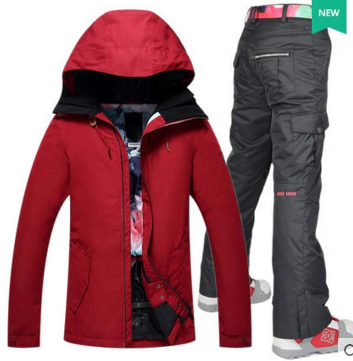 bonne réputation caractéristiques exceptionnelles style moderne € 100.2 |Veste de ski femme vin rouge noir skateboarding veste de ski avec  pantalon de ski noir combinaison de ski skiwear patinage combinaison de ...