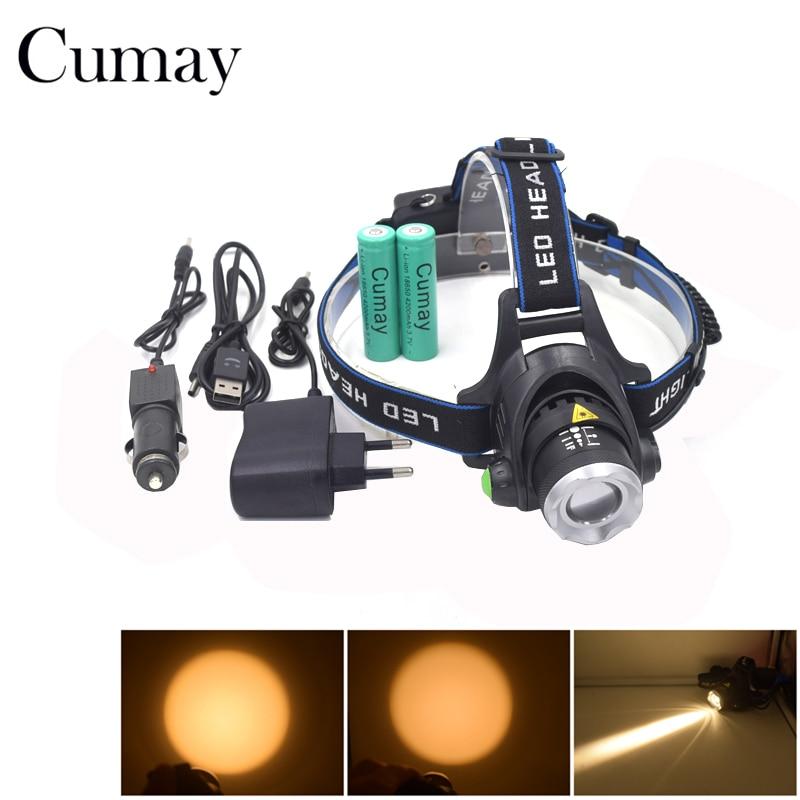 Super Bright 5000 Lumen T6+2R5 UV LED Headlight Headlamp Ultraviolet Head Lamp lampe frontale +Ac/Car/Usb Charger+ 18650 Battery
