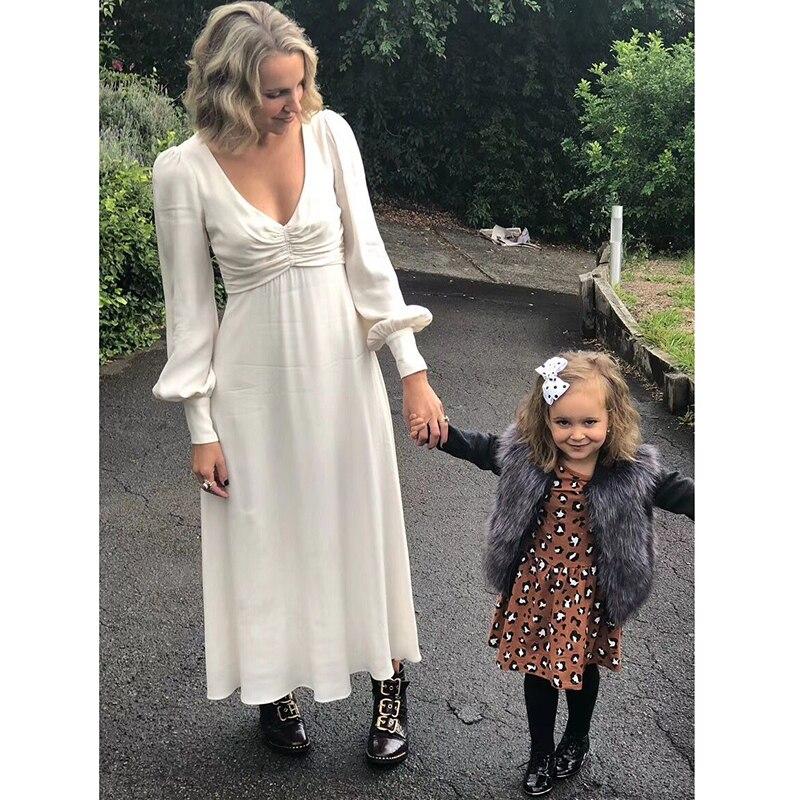 2018 осень ретро v-образным вырезом простой белый элегантный темперамент фонарь рукав платье с длинными рукавами длинное праздничное платье