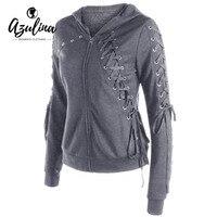 AZULINA Hoodie Sweatshirt Women Zip Up Lace Up Hoodies Ladies Tops Casual Hooded Long Sleeve Autumn
