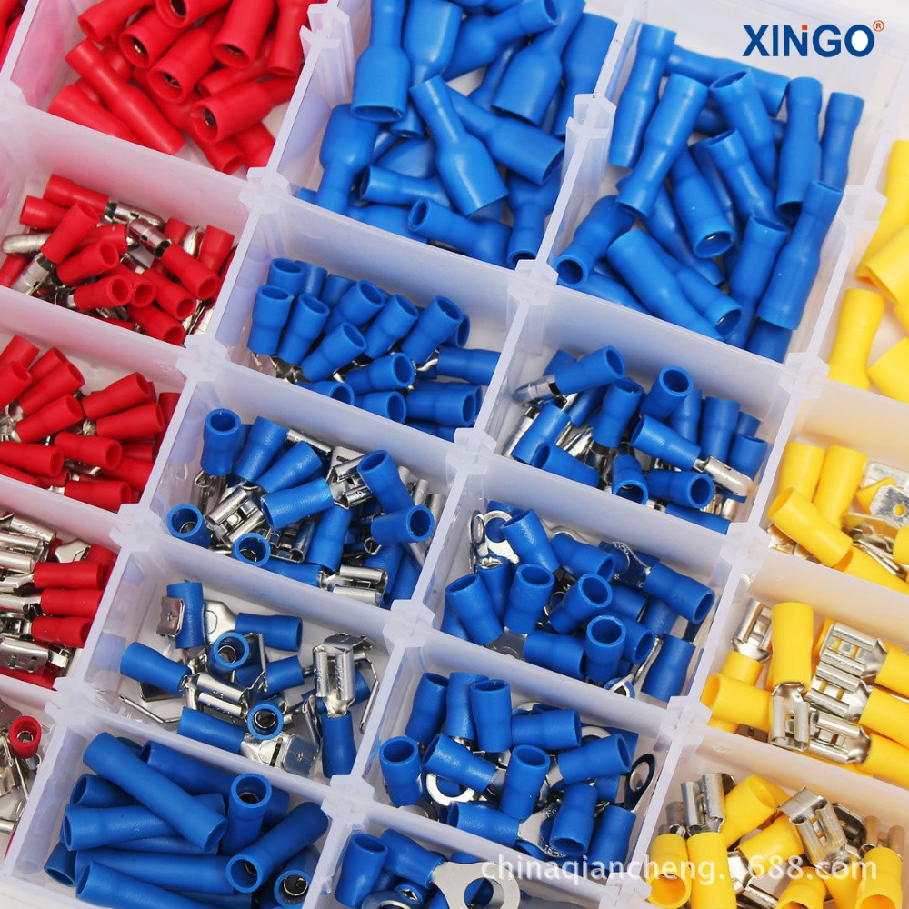 480Pcs Assorted Insulated Spade Crimp Terminal Electrical Wire Connector Set Red Blue Yellow 1000pcs non insulated spade terminal snb3 5 6