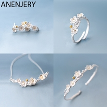 ANENJERY 925 пробы серебряные Ювелирные наборы Сакура цветок сливы ожерелье+ серьги+ кольцо+ браслет для женщин подарок