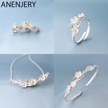 Anenjery 925スターリングシルバージュエリーセットさくら梅の花のネックレス + イヤリング + リング + ブレスレット女性のためのギフト