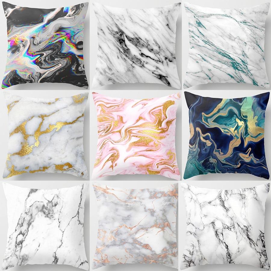 Marble Pattern Nordic Geometric Decorative Pillowcase Peach Velvet Microfiber Pillow Cushion Cover For Car Home Living Room