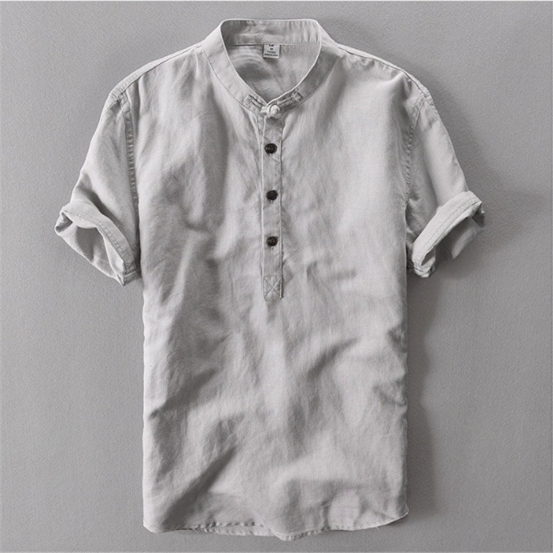 Male Spring Summer Brand Shirt Men Short Sleeve Loose Thin Cotton Linen Shirt Male Fashion Solid Color Trend O-Neck Collar