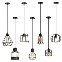 Retro Vintage E27 Industrial Metal Cage Cafe Bar Hanging Lamp Shade Pendant Lamp Pendant Lights Fixtures