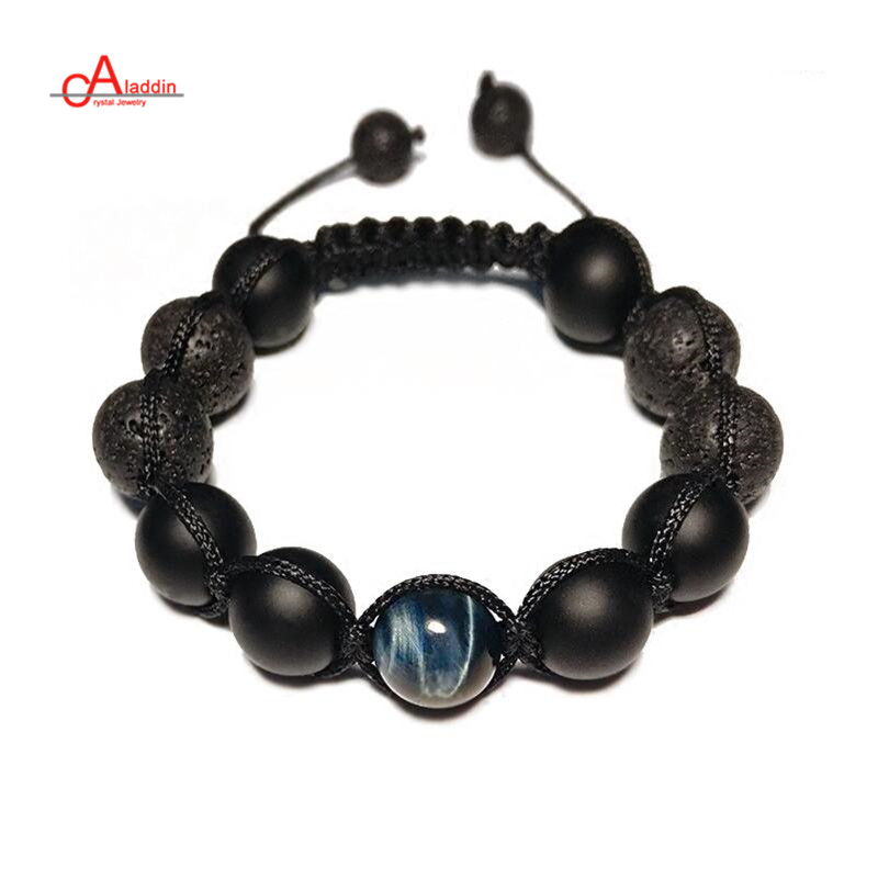 Aladdin 2018 New Punk Style Handmade Chakra Bracelets Nature Blue Tiger Stone and Lava Bead Bracelet for male gift