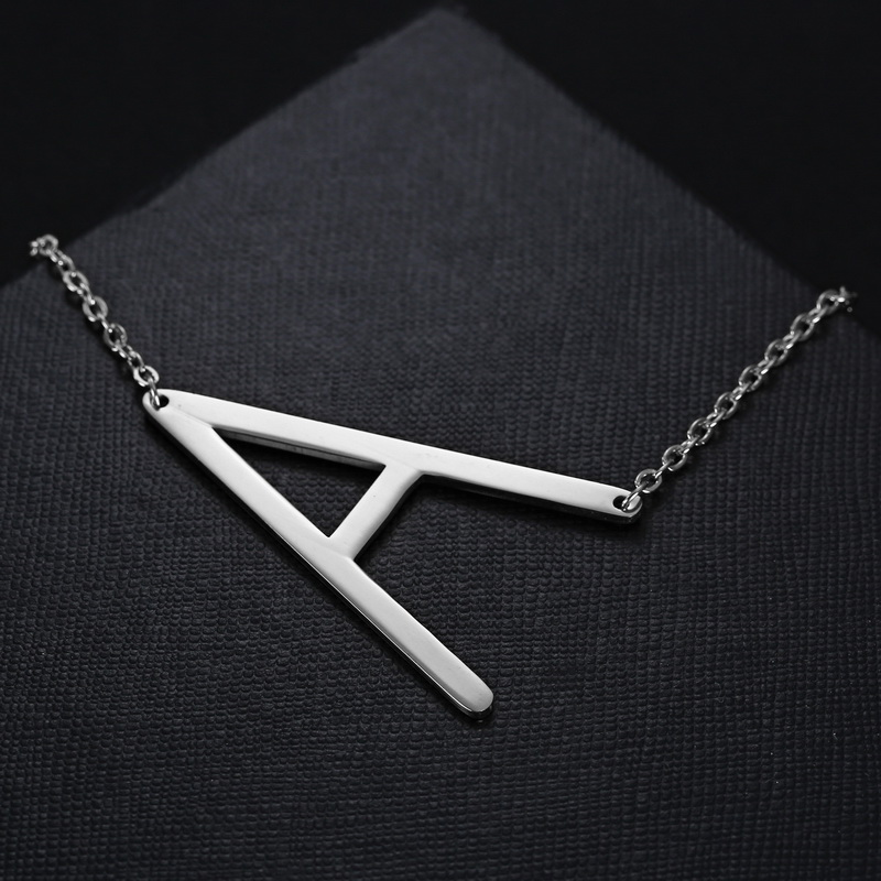 Fashion Letter Necklace Pendant Alfabet Initial Necklace silver plate Stainles Steel Choker Necklace Women Jewelry Kolye Collier