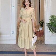 Poungdudu платье для беременных женщин v-образный вырез открытая Пряжка халат для кормящих женщин беременность небольшой свежий Высокая талия была тонкая длинная