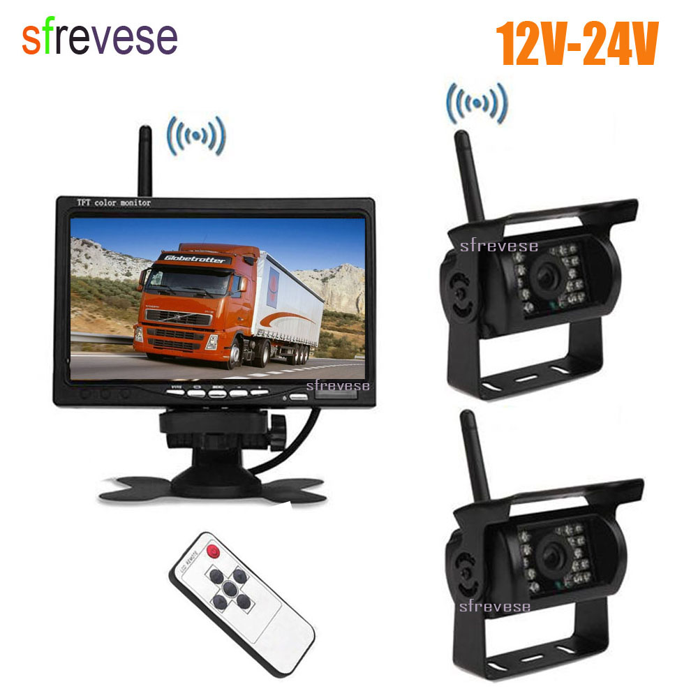 2x Wireless 18 IR LED Car Reversing Backup Parking Camera + 7 LCD Monitor For Bus Truck Trailer Vehicle Rear View Kit free shipping 12 24v dc wireless back up reversing camera system kit 7 rear view lcd monitor for truck bus van trailer