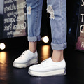 Transparent Thick Soled Shoes Woman Fashion 2017 Spring New Round Toe Lace-Up White Blue Patent Leather Platform Women Shoes