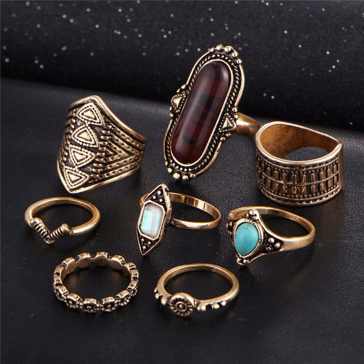 HTB1P60bOVXXXXbtXXXXq6xXFXXXB Tribal Boho Jewelry Set 8-Pieces Vintage Tibetan Turkish Knuckle Rings - 2 Colors