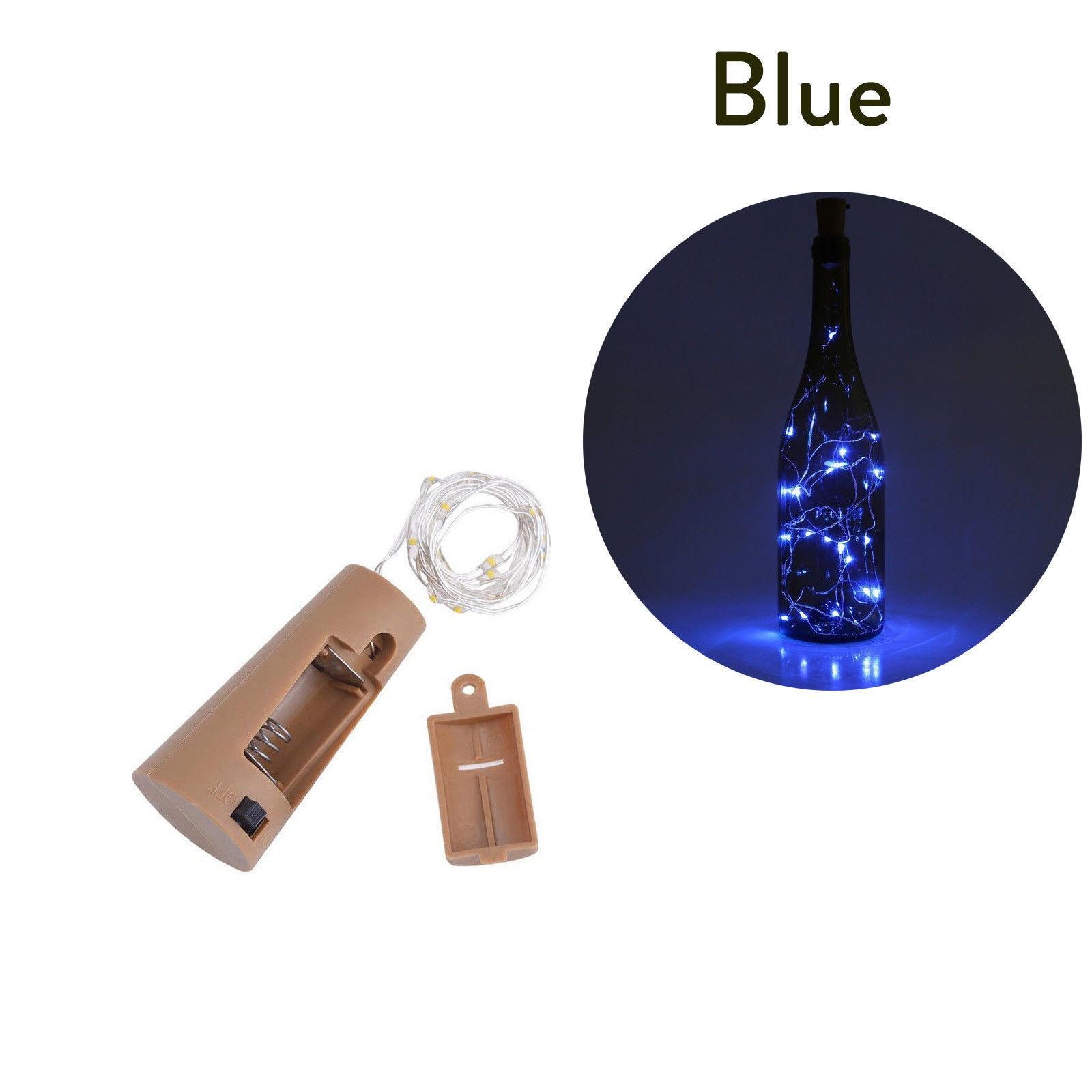10 20 30 светодиодный s пробковый светодиодный светильник, медная проволока, праздничный уличный Сказочный светильник s для рождественской вечеринки, свадебного украшения - Испускаемый цвет: Синий