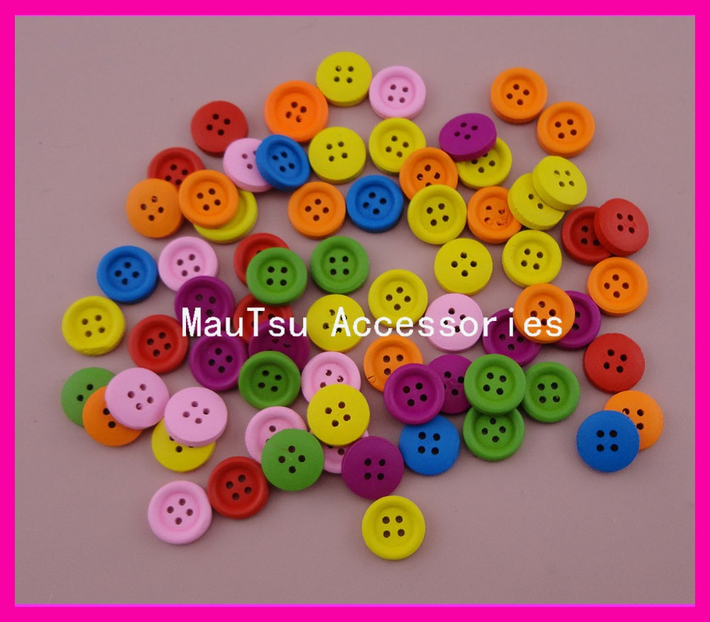 Craft beads in bulk - 300pcs Colorful 13mm Four Holes Wooden Round Buttons Beads For Diy Craft Bargain For Bulk