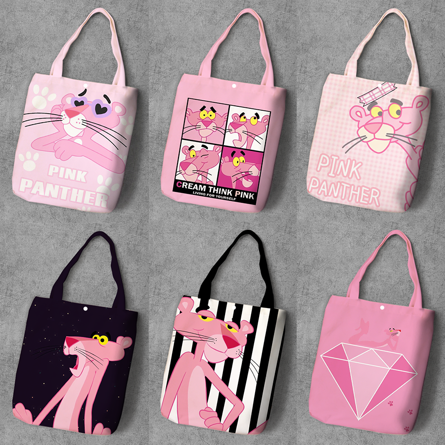 Pink Panther Cartoon Student Printed Canvas Shopping Backpack Large Capacity Anime Tote Fashion Ladies Casual Shoulder Bags