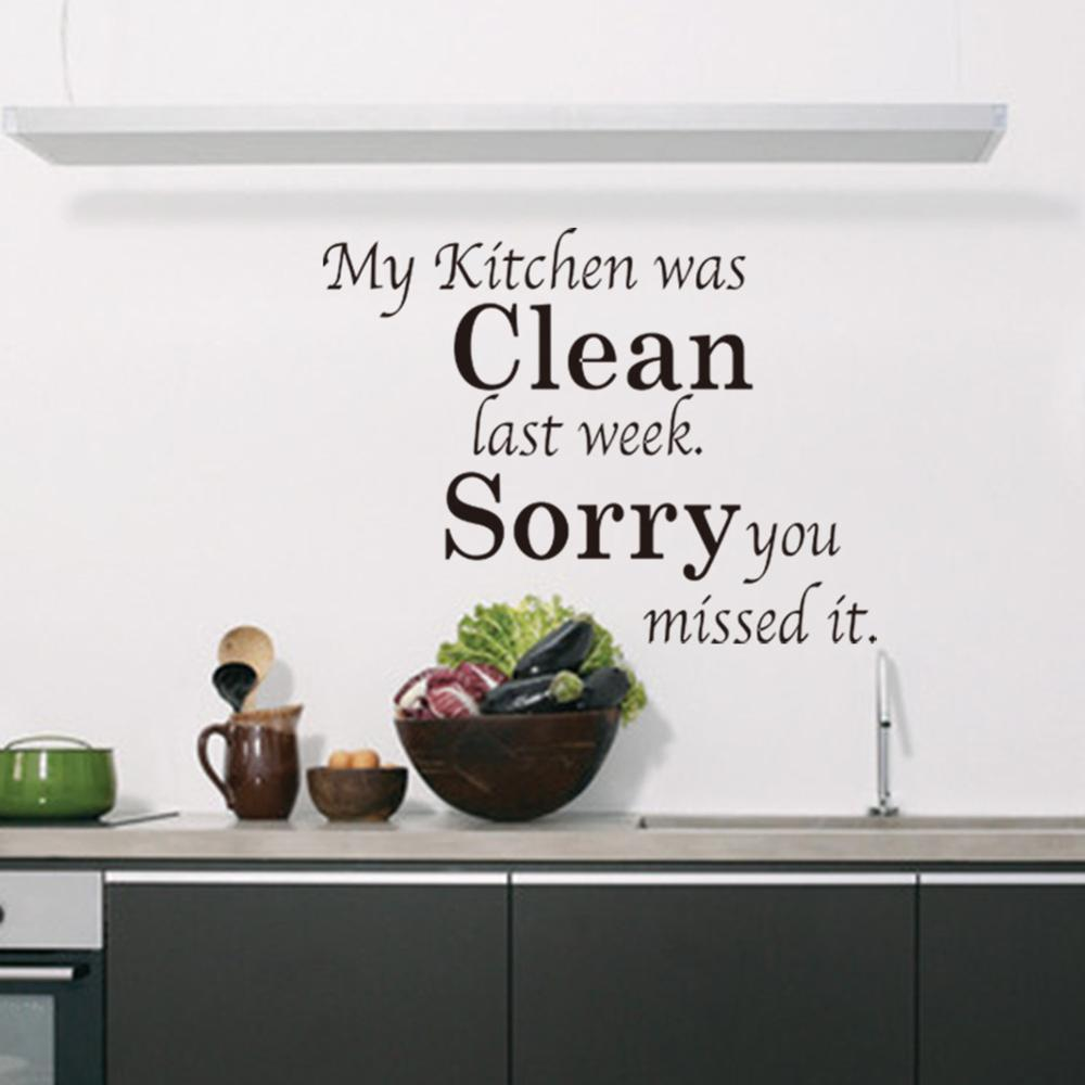 8072 Kitchen Clean Wall Stickers DIY Home Decorations Decals Living Room Quote Free Shipping