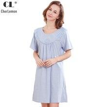 eaa252a26 CherLemon Vitoriano Mangas Curtas Em Torno Do Pescoço Camisola de Algodão  Verão das Mulheres Sleepwear Senhoras