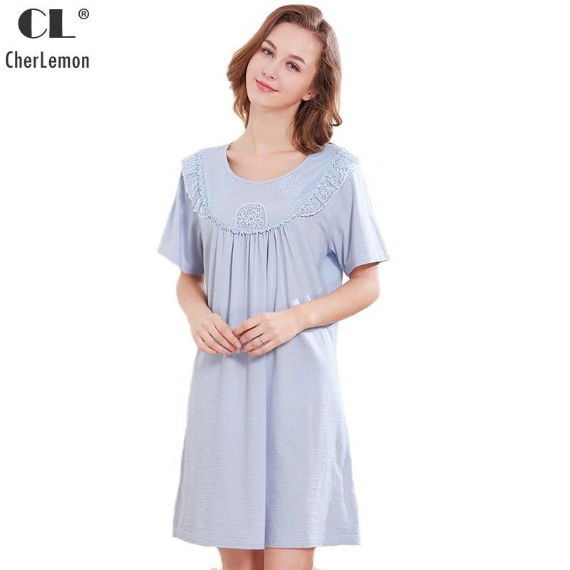 CherLemon Summer Cotton Nightgown Womens Victorian Short Sleeves Round Neck Sleepwear Ladies Pretty Lace Trim Nightie Loose Fit
