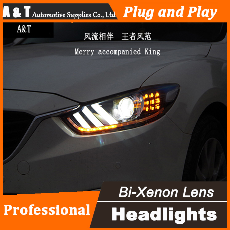 Car Styling New For Mazda 6 led headlight assembly 2014-2015 Led Mazda6 head lamp Angel eye led H7 with hid kit 2 pcs. car styling head lamp for bmw e84 x1 led headlight assembly 2009 2014 e84 led drl h7 with hid kit 2 pcs