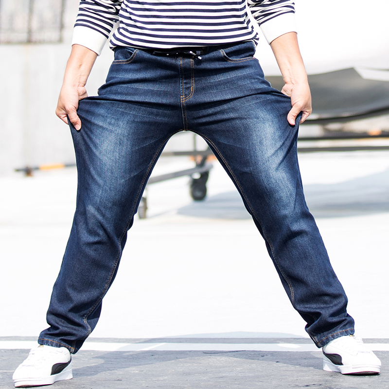 37fde0e13e0d8 Plus Size 5XL 6XL 7XL Elastic Band Jeans For Men Winter Thickening Mens  Jean High Waist Long Trousers Straight Trousers-in Jeans from Men s  Clothing on ...