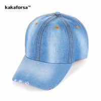 Kakaforsa Men Cotton Baseball Caps Women Denim Patchwork Hip Hop Hats Simple Style Adjustable Golf Trucker