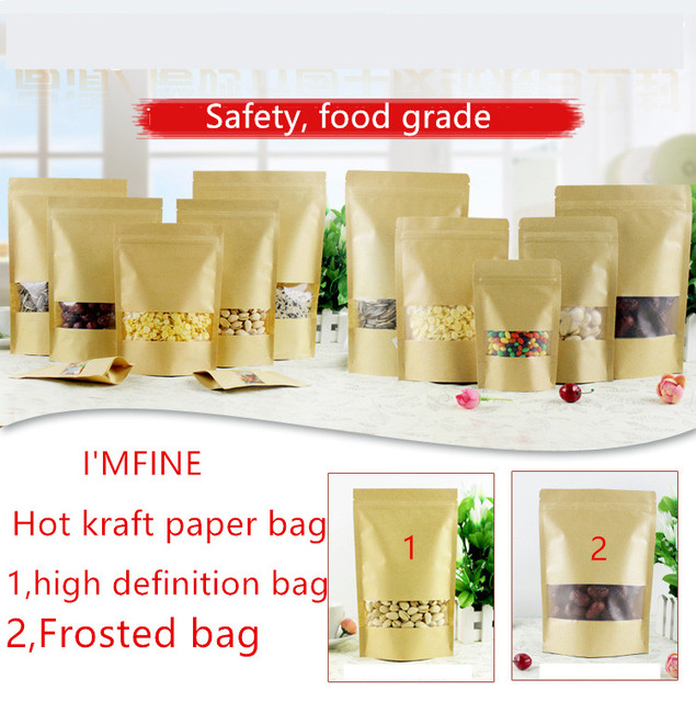 100pcs14x20cm Kraft Paper Bag Zip Lock Bag with Window Gift Bag Tea Packaging Food Stand Up Pouches Zipper Kraft Bag  Free ship