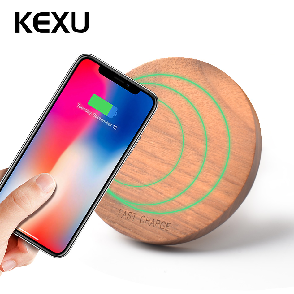 KEXU 10 W 7.5 W Qi chargeur sans fil bois rapide chargeur sans fil mini chargeur pour iPhone X 8 pour Samsung Galaxy Note8 S8 S7EdgeKEXU 10 W 7.5 W Qi chargeur sans fil bois rapide chargeur sans fil mini chargeur pour iPhone X 8 pour Samsung Galaxy Note8 S8 S7Edge